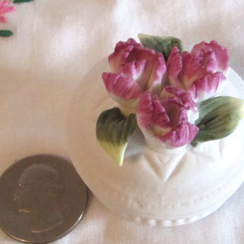 Tiny Trinket Box, Miniature Violet Daffodils Porcelain Box, Ring Storage Box, Wedding Proposal Ring Box, Art Collectibles, laslovelies