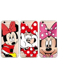 Cute Cartoon Mickey Minnie Mouse Women Cell Phone Cases For iPhone 7 SE 5 5S 6s 7plus 6plus Gril Back Hard Cover C