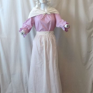 Beautiful Vintage Colonial 4 Piece Adult Day Costume in Lilac & White Dotted Swiss, Long Dress, Apron, Shawl, Mob Cap, For Drama, Halloween
