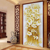 5D DIY Diamond Painting Rhinestones Pattern Flower Lily Cross Stitch Sets For Embroidery Kits Needlework Crafts
