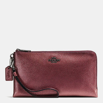COACH Double Zip Wallet in Metallic Pebble Leather at Von Maur
