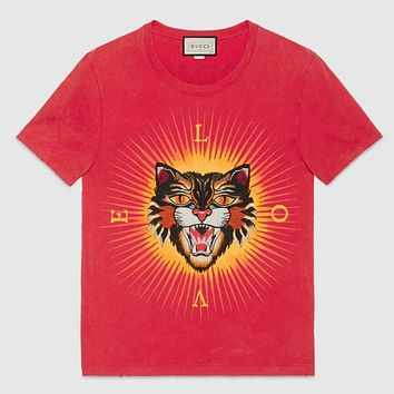 Gucci Women Men Popular Loose Tiger Head Print Round Collar T-shirt Couple Top I