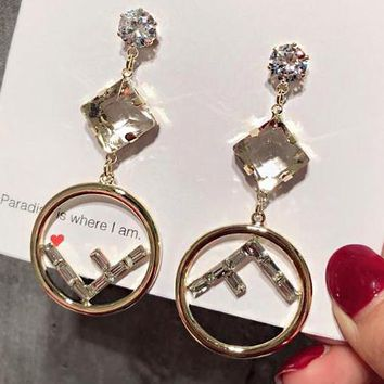 FENDI Fashionable Women Cute F Letter Diamond Circular Pendant Earrings Accessories Jewelry