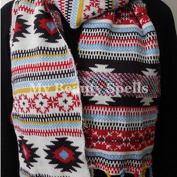 Knitted Tribal Aztec Scarf - Long bohemian scarf double face scarf