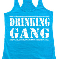 DRINKING GANG Burnout Racerback  Tank Top Workout Gym Fitness Running Motivational