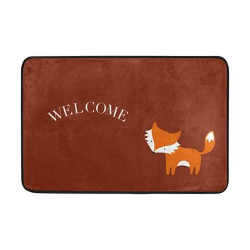 Autumn Fall welcome door mat doormat Yochice Non-slip  Home Decor, Cute Little Red Fox Welcome Durable Indoor Outdoor Entrance  23.6 X 15.7 Inches AT_76_7