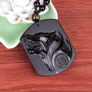 DCCKDZ2 Natural Black Obsidian Carving Wolf Head Amulet pendant free necklace obsidian Blessing Lucky pendants fashion Jewelry