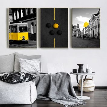 Wall Art Picture Black Tone Street Yellow Bus Umbrella Balloon Canvas Painting Print Poster Living Room Home Decor Backgrounds