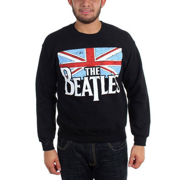 The Beatles - Distressed British Flag Adult Crew Sweatshirt