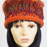 OOAK hat / rust knit pillbox hat / orange crochet hat / multicolor handmade hat / one of a kind hat / woman winter hat / teen girl hat