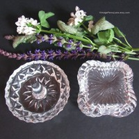 Clear Crystal Ring Holder, Jewelry Dish, Trinket Box