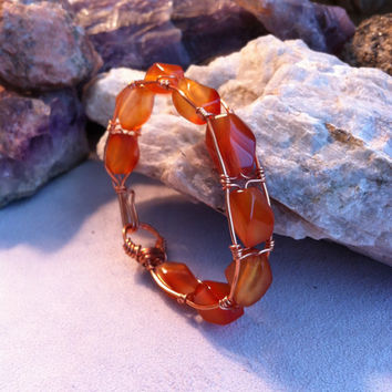 Fire Agate and Copper Wire Wrapped Bangle Bracelet