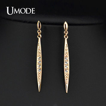 UMODE New Fashion Vintage Earrings Rose Gold Color Austrian Rhinestone Bar Dangle Drop Earrings for women JE0168
