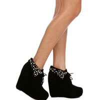 Black Lace Up Spiked Wedges