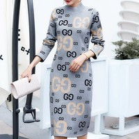 GUCCI Autumn And Winter New Fashion More Letter Keep Warm Women Long Sleeve Dress Gray