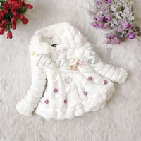 Toddler Baby Girl Faux Fur Coat Pearl Outwear Warm Fleece Winter Jacket Snowsuit