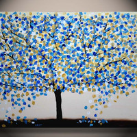 Large Tree Painting, Gold Turquoise Texture on Canvas, Original Abstract Fine Art, living room and bedroom decoration, ready to hang