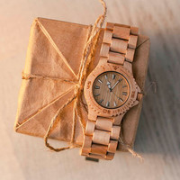 Maple Wood Hand Watch, Natural Wooden Wristwatch, by WOODEER
