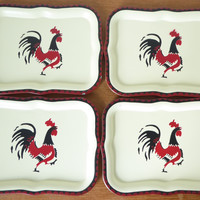 Social Supper rooster snack trays in great condition, set of four