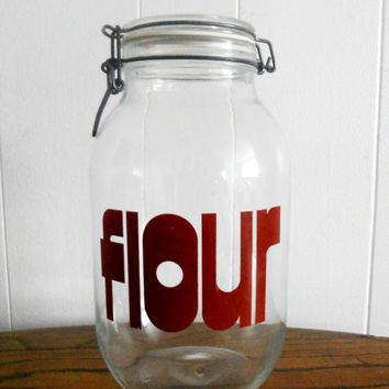 Vintage French Glass Jar  Triomphe Flour by houseofheirlooms