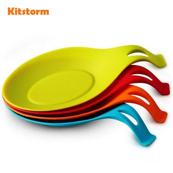 2Pcs/lot Kitchen Heat Resistant Silicone Spoon Rest Utensil Spatula Holder Kitchen Tool