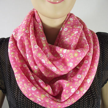 Coral Infinity Scarf...Floral Scarf...Circle scarf....Loop Scarf....Cotton Spring Scarf.....Nomad Cowl Relax