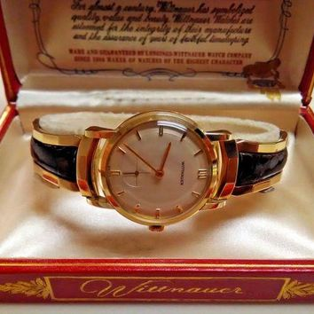 ONETOW 14k Solid Gold Longines Wittnauer In Original Box W Paper Original Band Like NOS