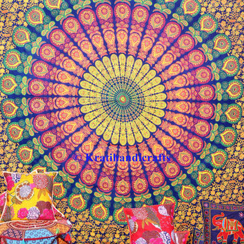 Big mandala tapestry wall hanging hippie tapestry bohemian wall decor hippy throw bedspread queen bed cover picnic sheet coverlet mandala