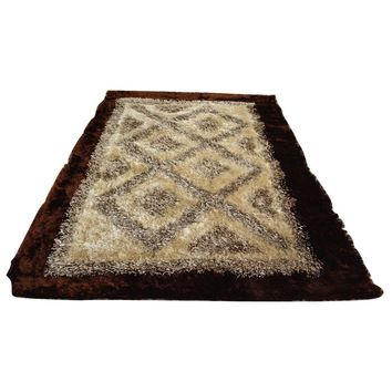 Soft Viscose Fabric 3D Bordered Shiny Dark Brown Cream Geometric Aztec Diamonds Shaggy Carpet Rug Mat