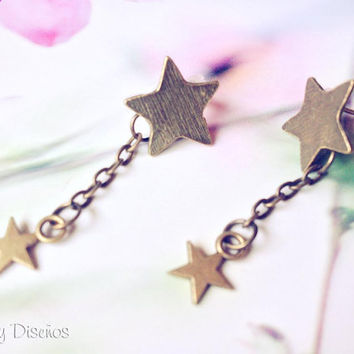 Stars Earrings, vintage Falling stars, Shooting Star earrings, Star Earring Studs, metal stars, catch a falling star, chain earrings starry