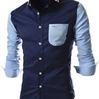 Color Block Pocket Long Sleeves Shirt
