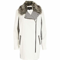 White colour block faux fur collar biker coat