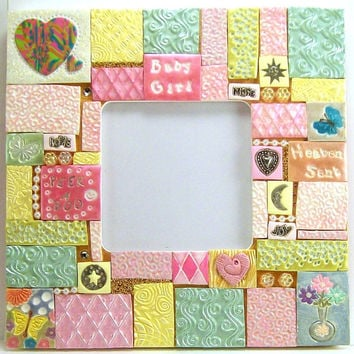 Mosaic Frame, Baby Girl Frame, Baby Shower Gift, Art Frame, Home Decor, Collage Art, Wall Decor, Handmade Frame