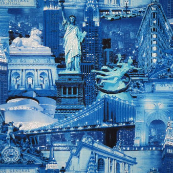 Shades of Blue with Silver NYC Collage Print Pure Cotton Fabric--One Yard