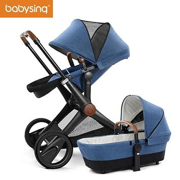 Babysing Baby Stroller 3 in 1 Brands High View Four Wheels Baby Carriage Pram Foldable Luxury Infant Pushchair with Bassinet XGO