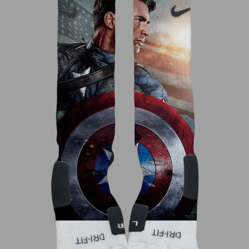 Captain America - Marvel - Avengers - Custom Nike Elite Socks - Socktimus Prime