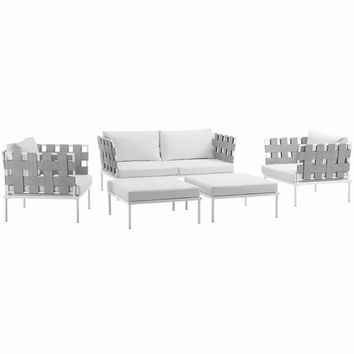 Harmony 5 Piece Outdoor Patio Aluminum Sectional Sofa Set , White White - EEI-2621-WHI-WHI-SET