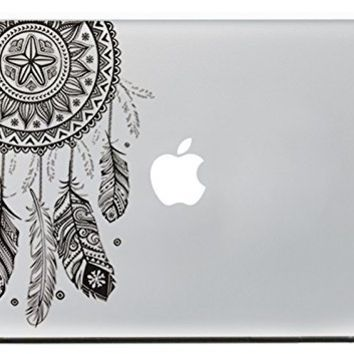 "iCasso Dream Catcher Removable Vinyl Decal Sticker Skin for Apple Macbook Pro Air Mac 13"" inch / Unibody 13 Inch Laptop (Black)"