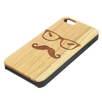 Glasses Mustache Natural Wood Engraved iPhone 6s Case iPhone 6s plus Cover iPhone 6 5s 5 Real Wooden Case