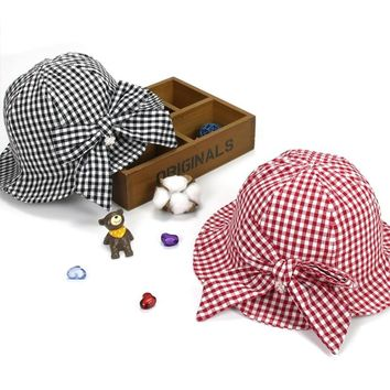 ideacherry Baby Summer Hat Baby Girls Sun Hat Lovely Red Black Plaid with Bowknot Pearl Bucket Cap Outdoor Hat for 1-3 Years Old