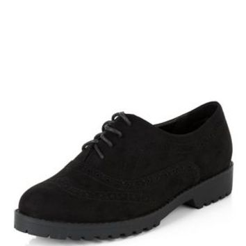 Wide Fit Black Suedette Chunky Brogues