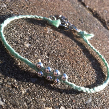 Simple handmade mint and silver adjustable anklet