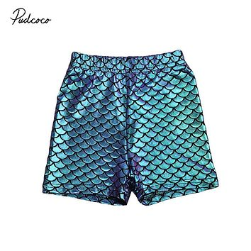 Baby Girl Short Pants Kid Infant Baby Girl Toddler Skinny Mermaid Fish Scale Stretchy Short Pants  New Arrival Shiny Bottoms