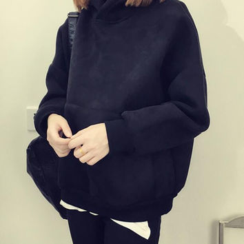 Womens Loose Cotton Sweater Casual Shirt Autumn Winter Thicken Hooded Blouse Tops