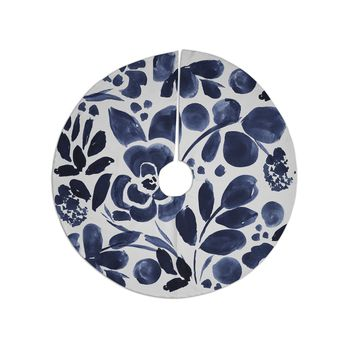 """Crystal Walen """"Watercolor Floral"""" - Navy Painting Tree Skirt"""