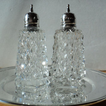 Salt and Pepper Shakers of Fine Crystal with Silverplate Tops and Tray by F.B. Rogers Silver Co. Elegant Mid Century Cottage Chic Decor