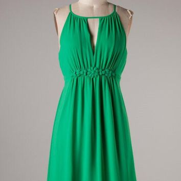Chiffon Dress with Flower Band - Shamrock