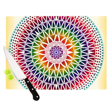 "Famenxt ""Colorful Vibrant Mandala"" Rainbow Geometric Cutting Board"
