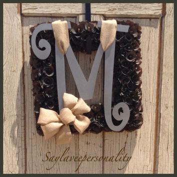 Square brown wood curl wreath with metal initial and burlap ribbon