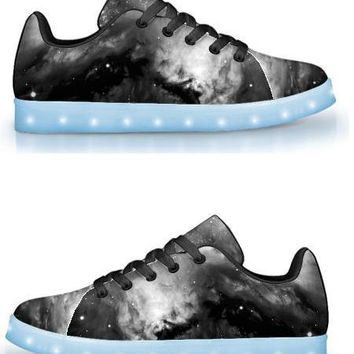 Black & White Cosmos - APP Controlled Low Top LED Shoes